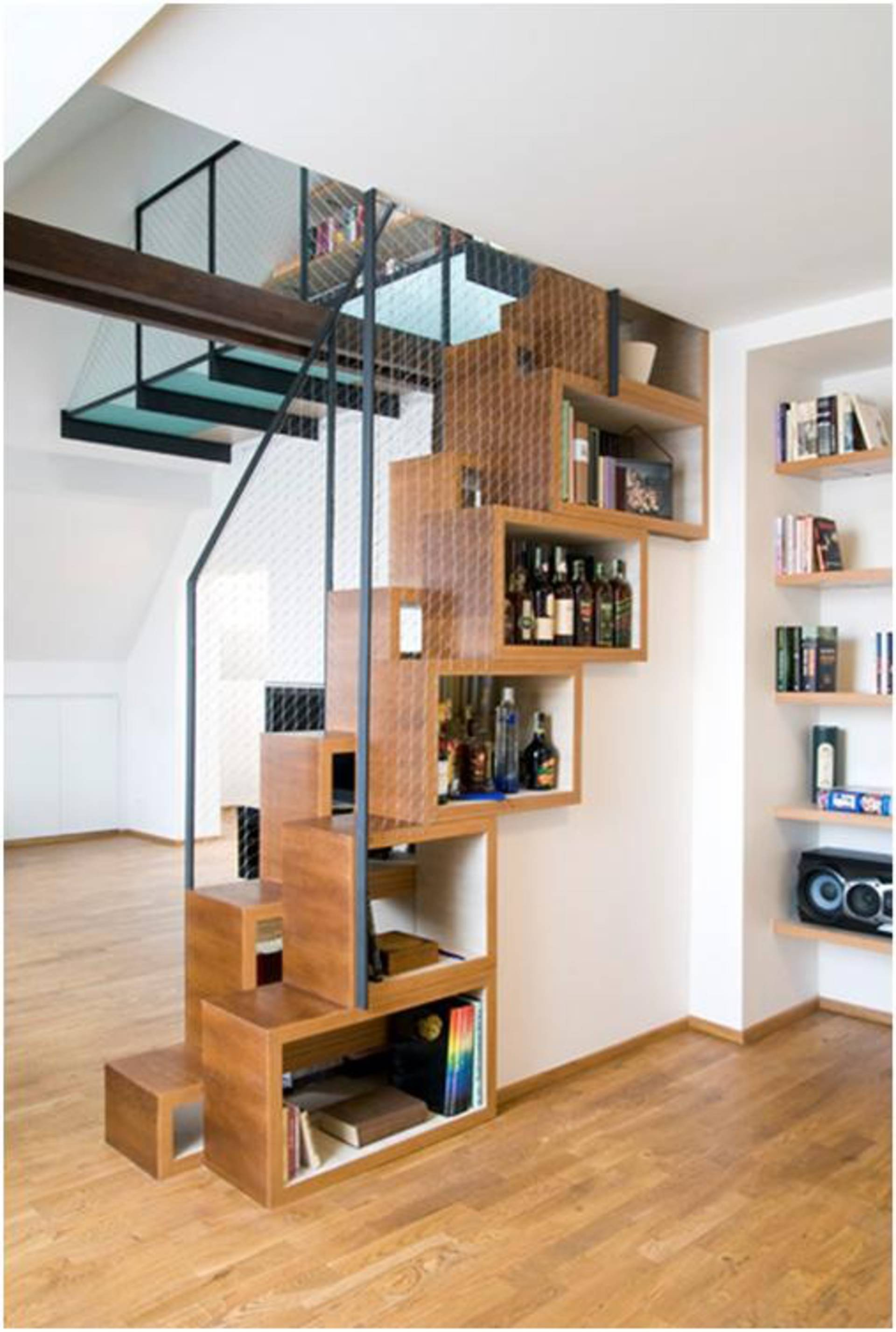 Compact bookshelves built into the staircase home reviews compact bookshelves built into the staircase amipublicfo Images