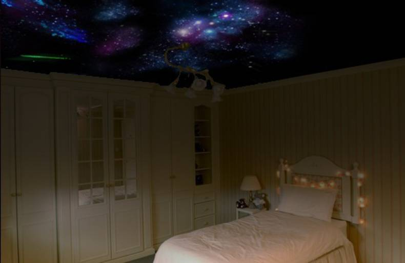 Night starry sky on your bedroom s ceiling how to home reviews for Starry night lights for bedroom