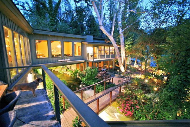Awesome House Across the River: Kaweah Falls