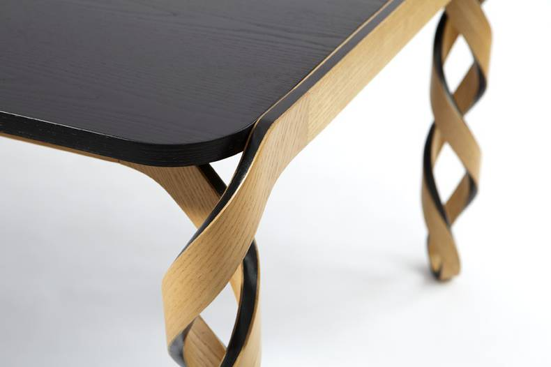 Watson Table With Dna Shaped Legs By Paul Loebach