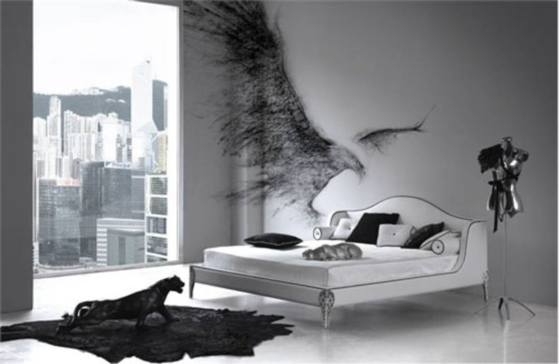 Sophisticated Black and White Bedroom Interior Design