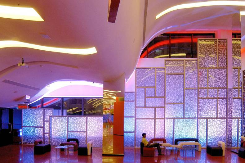 The Red Lounge designed by Sanjay Puri Architects in India