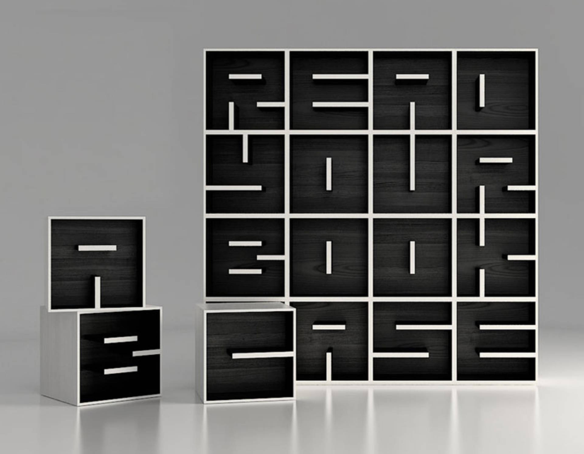 Bookshelf With Letters By Studio Saporiti