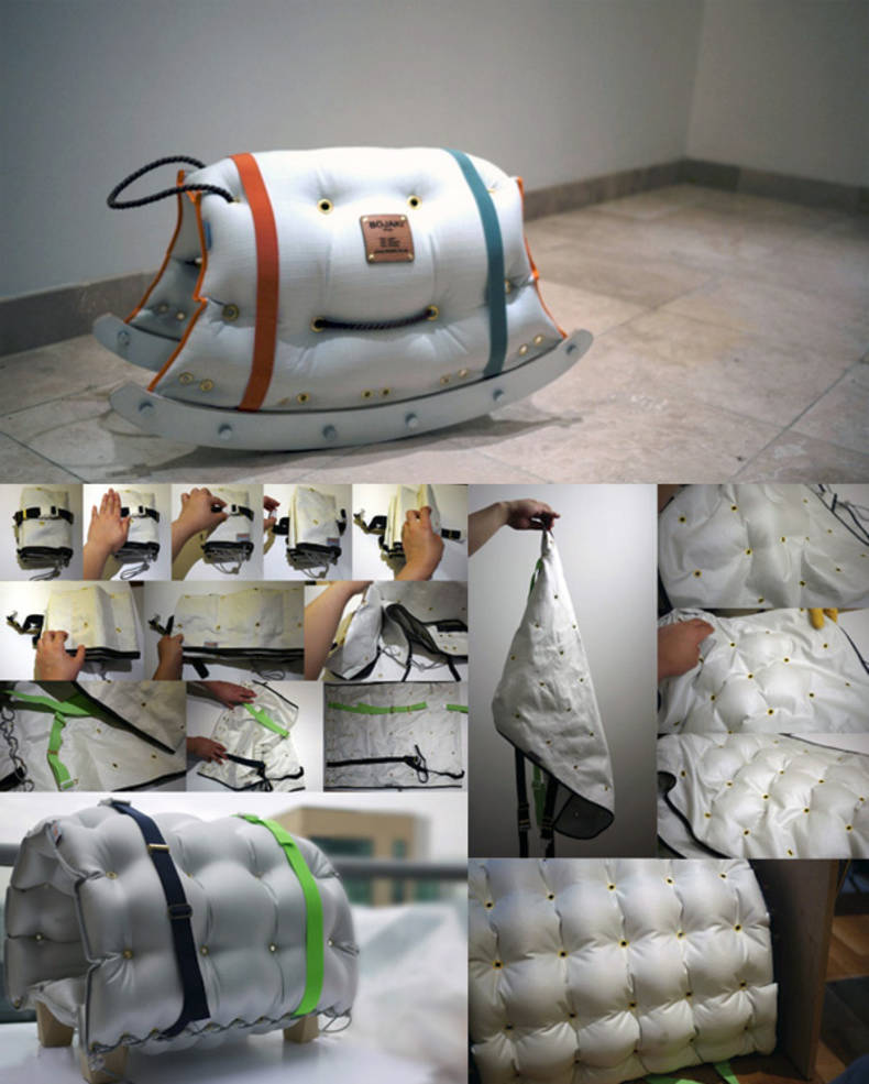 Inflatable and Foldable furniture by Jy Yeon Suh