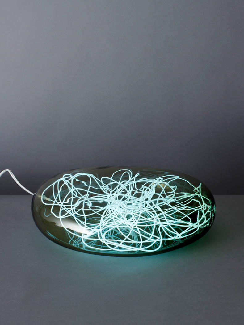 Hadron Lamp with Electroluminescent Wire Inside by Joe Doucet